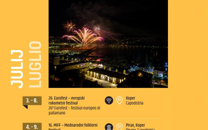 Napovednik dogodkov za slovensko Obalo, julij 2018